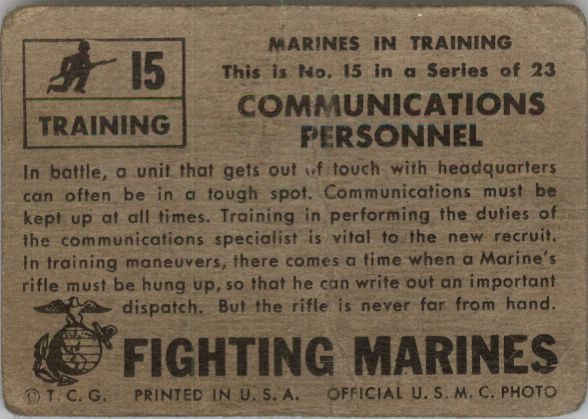 1953 Fighting Marines #15 Communications Personnel back image