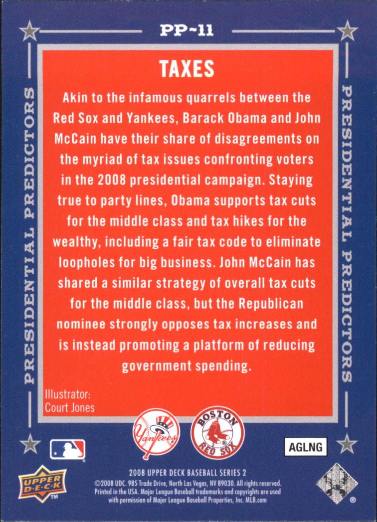 2008 Upper Deck Presidential Running Mate Predictors #PP11A John McCain/Hillary Clinton back image