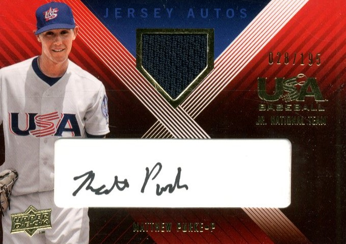 2008 USA Baseball Junior National Team Signature Jersey Black #UI13 Matthew Purke