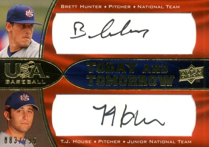 2008 USA Baseball Today and Tomorrow Signatures Black #TT3 Brett Hunter/T.J. House
