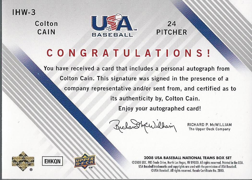 2008 USA Baseball Youth National Team In His Own Words Signatures #YI3 Colton Cain back image