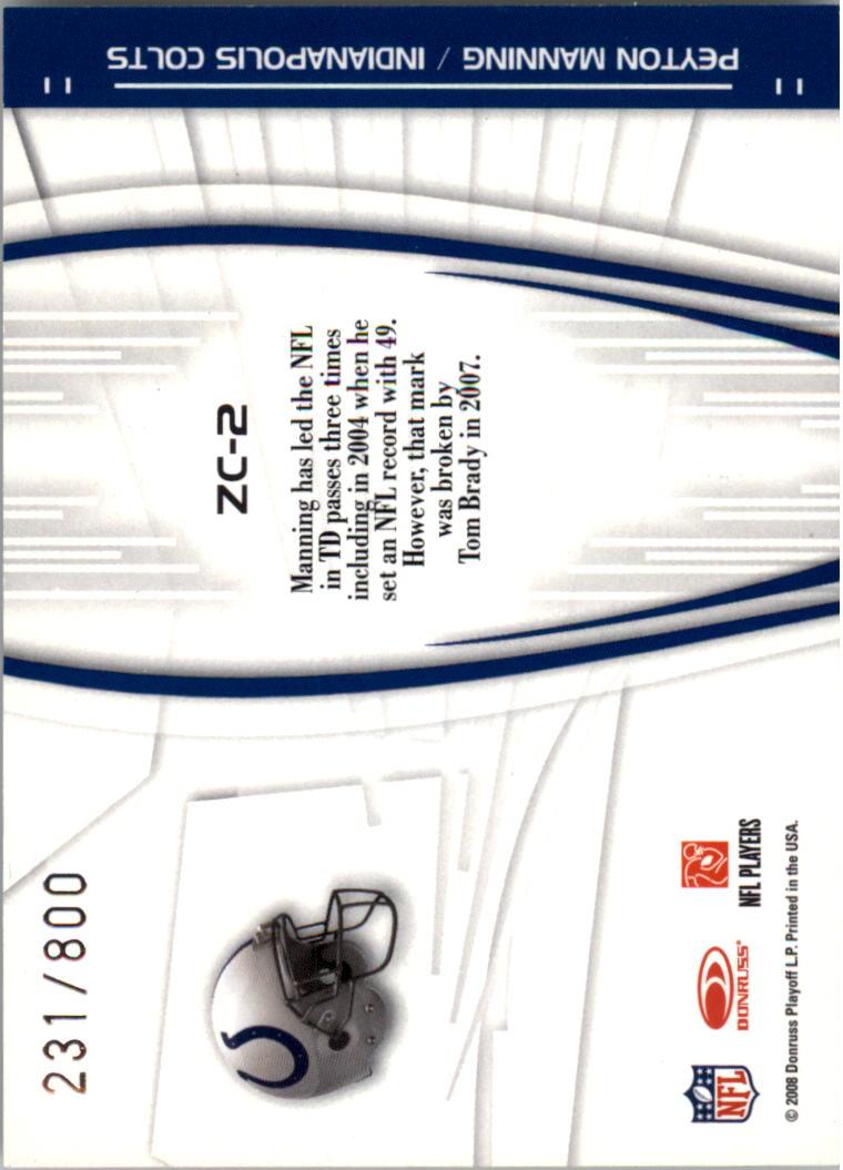 2008 Donruss Elite Zoning Commission Gold #2 Peyton Manning back image