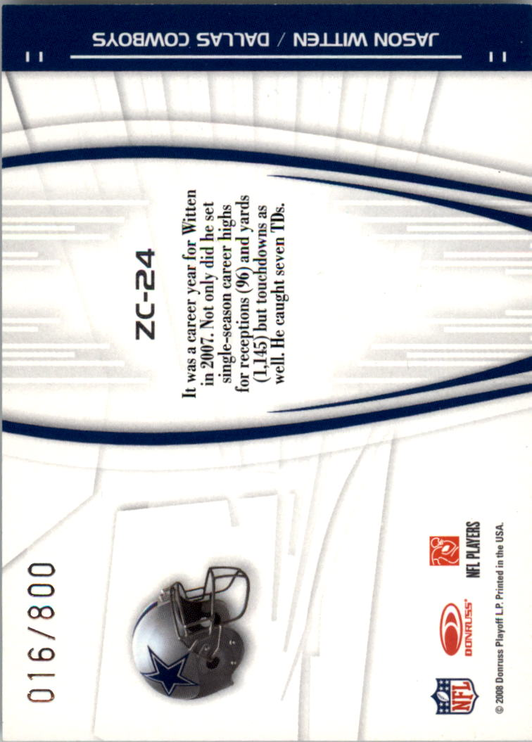 2008 Donruss Elite Zoning Commission Gold #24 Jason Witten back image