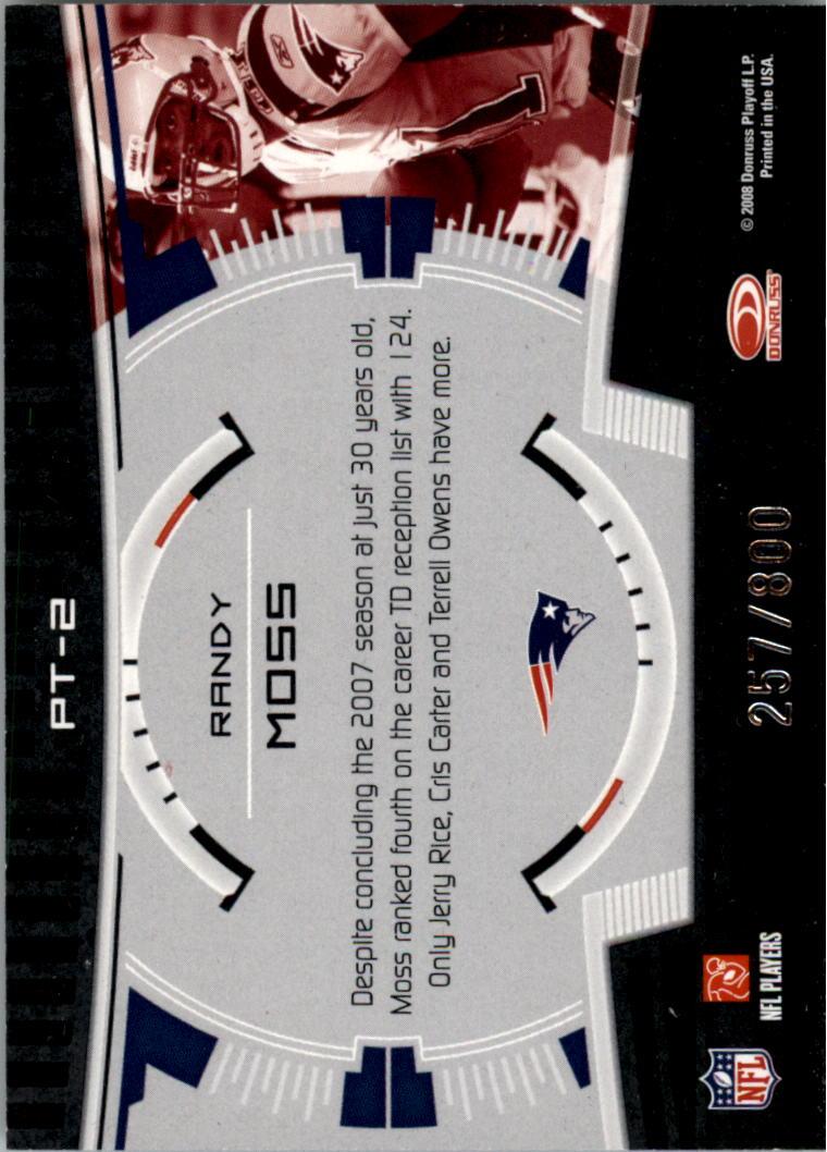 2008 Donruss Elite Prime Targets Gold #2 Randy Moss back image