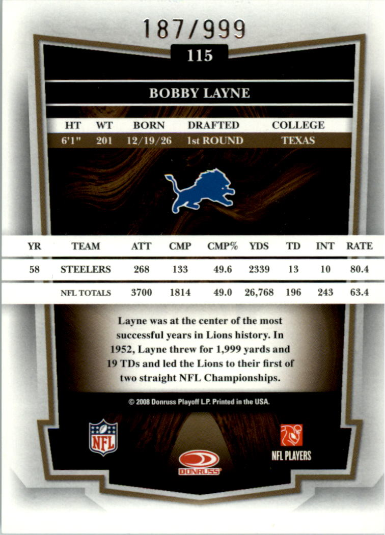 2008 Donruss Classics #115 Bobby Layne back image