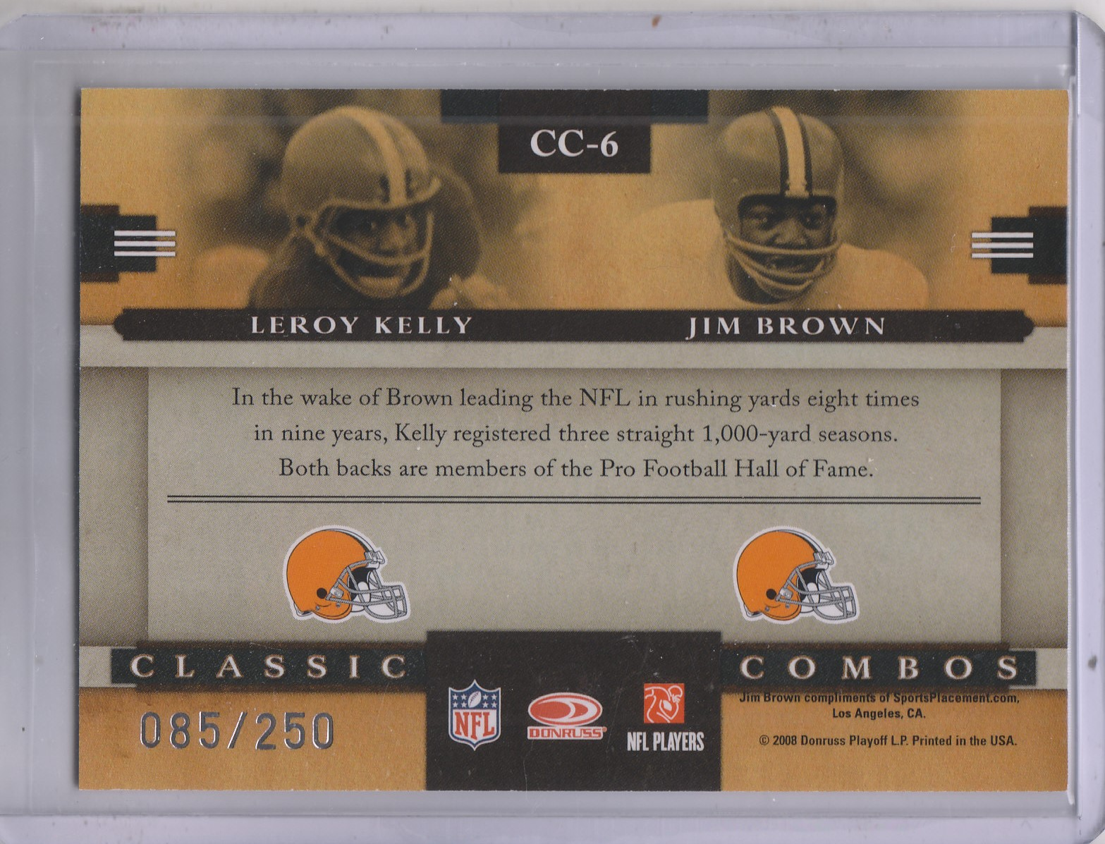 2008 Donruss Classics Classic Combos Silver Holofoil #6 Leroy Kelly/Jim Brown back image