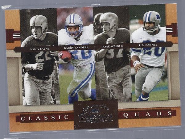 2008 Donruss Classics Classic Quads #2 Bobby Layne/Barry Sanders/Doak Walker/Lem Barney