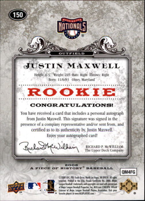 2008 UD A Piece of History Rookie Autographs #150 Justin Maxwell/499 back image