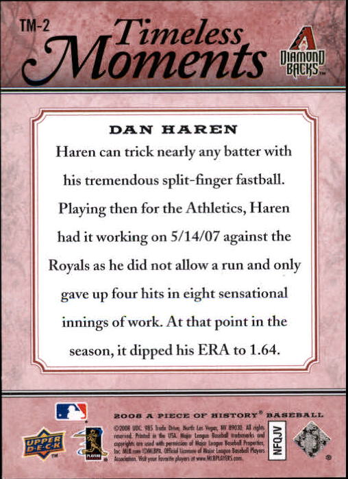 2008 UD A Piece of History Timeless Moments Red #2 Dan Haren back image