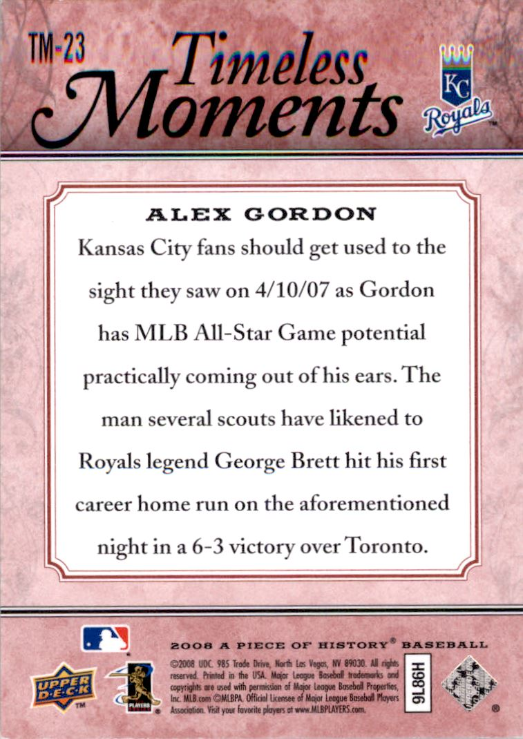 2008 UD A Piece of History Timeless Moments Red #23 Alex Gordon back image