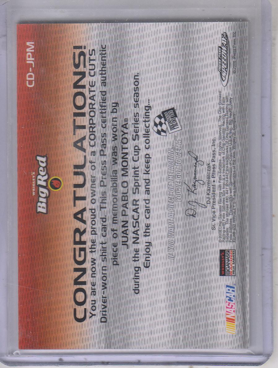 2008 Press Pass Speedway Corporate Cuts Drivers #CDJPM Juan Pablo Montoya back image