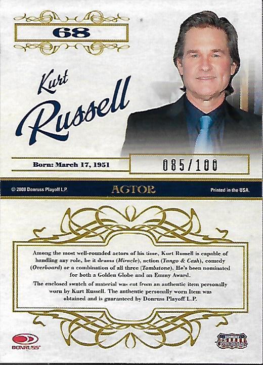 2008 Americana Celebrity Cuts Century Material #68 Kurt Russell/100 back image