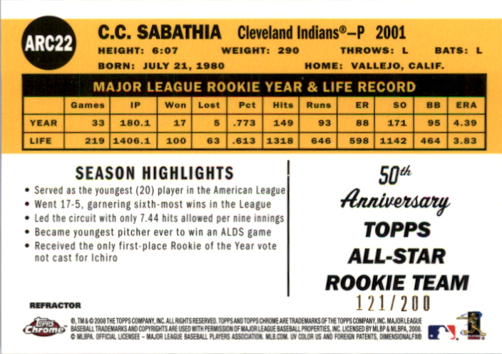 2008 Topps Chrome 50th Anniversary All Rookie Team Blue Refractors #ARC22 C.C. Sabathia back image