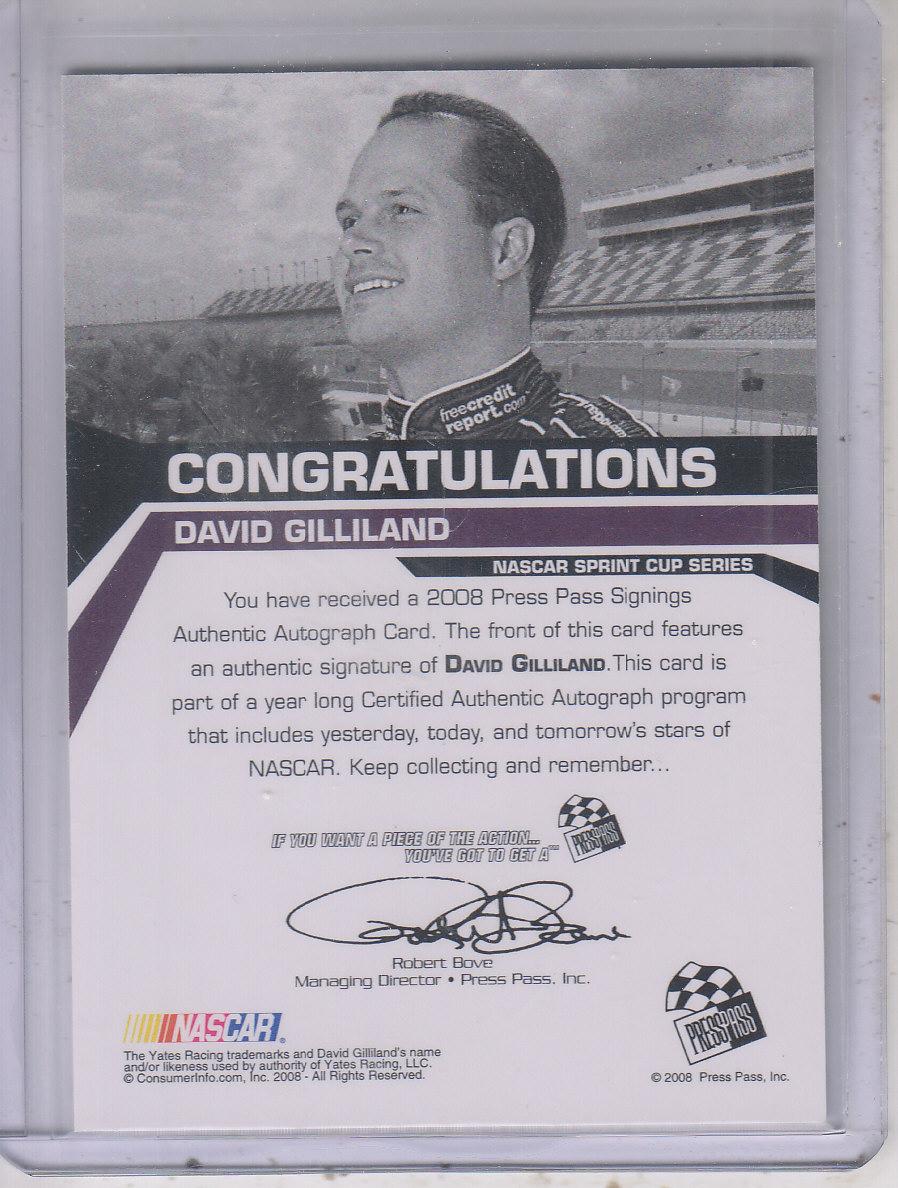 2008 Press Pass Signings Gold #20 David Gilliland back image