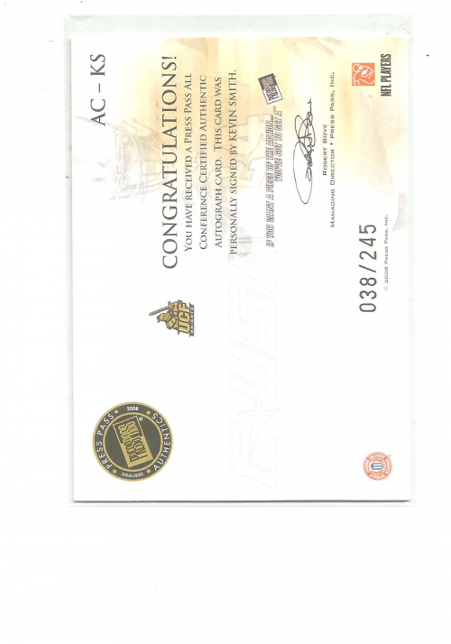 2008 Press Pass Legends All Conference Autographs Gold #ACKS Kevin Smith/245 back image