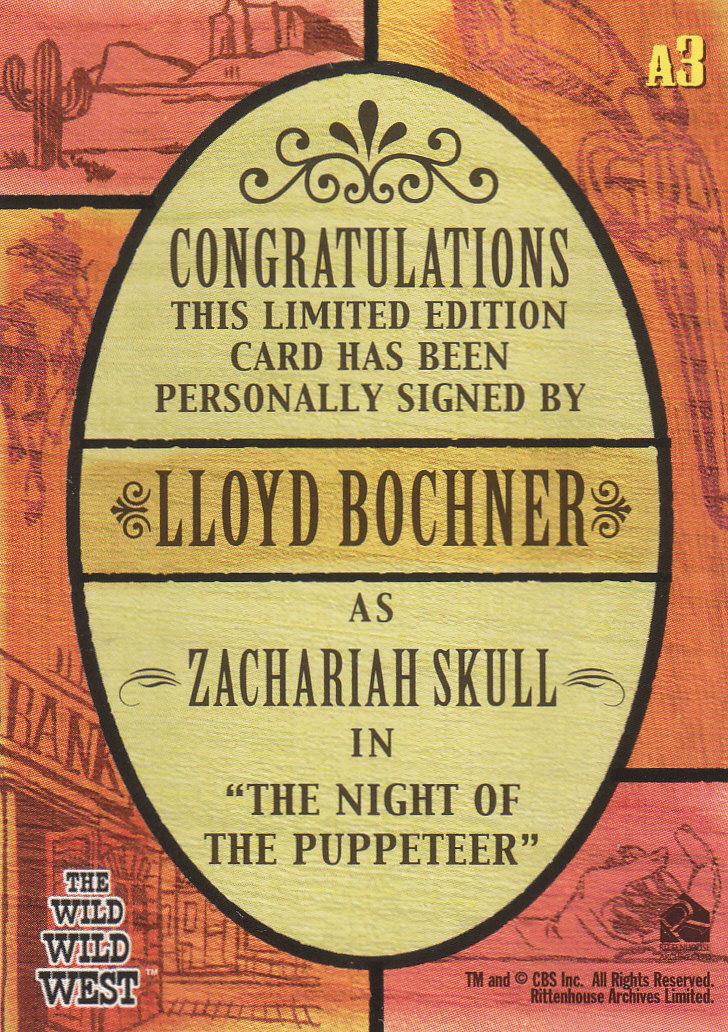 2000 Best of The Wild Wild West Season One Autographs #A3 Lloyd Bochner back image
