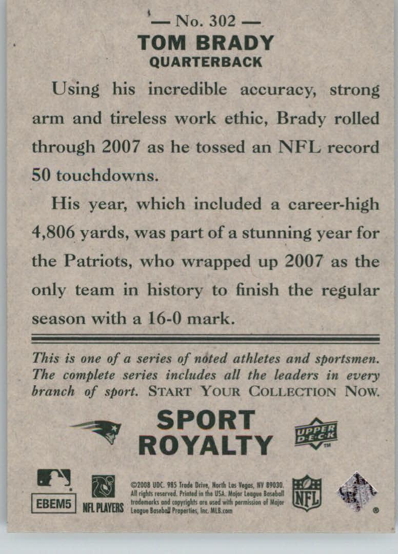 2008 Upper Deck Goudey #302 Tom Brady SR SP back image