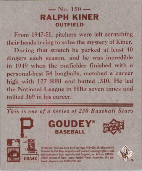 2008 Upper Deck Goudey Mini Red Backs #150 Ralph Kiner back image
