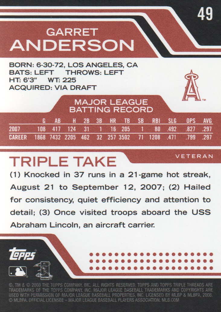 2008 Topps Triple Threads #49 Garret Anderson back image