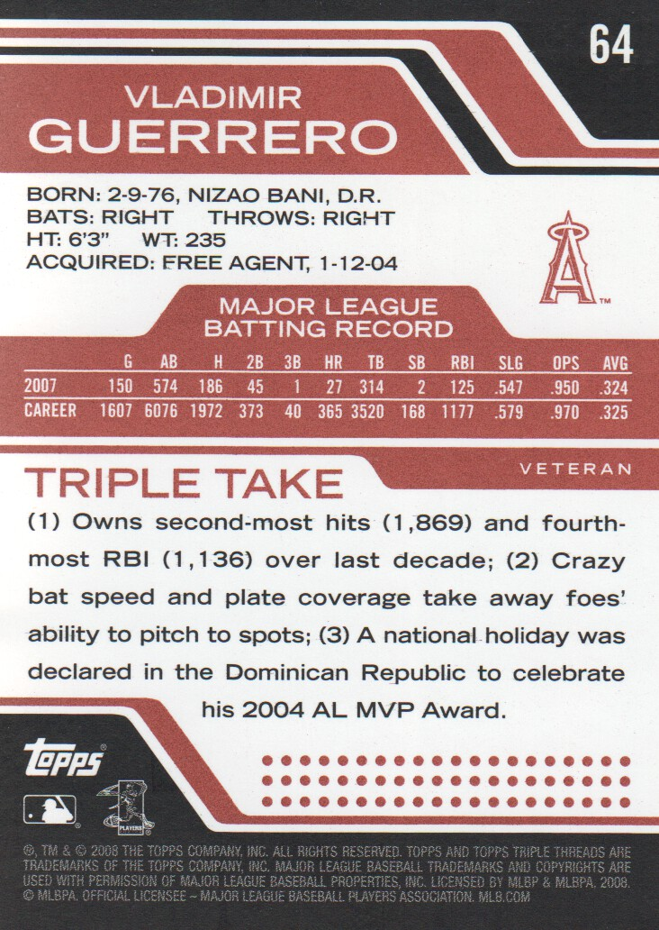 2008 Topps Triple Threads #64 Vladimir Guerrero back image