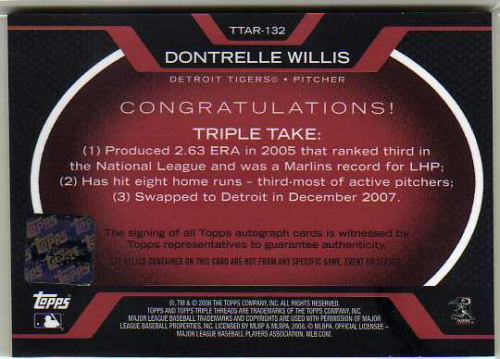 2008 Topps Triple Threads Relics Autographs #132 Dontrelle Willis back image