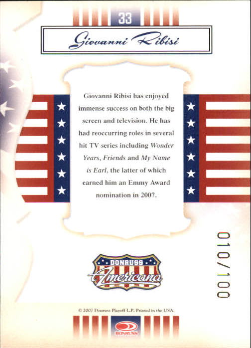 2007 Americana Gold Proofs Retail #33 Giovanni Ribisi back image