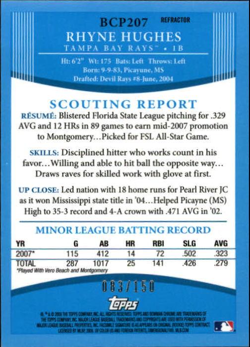 2008 Bowman Chrome Prospects Blue Refractors #BCP207 Rhyne Hughes back image