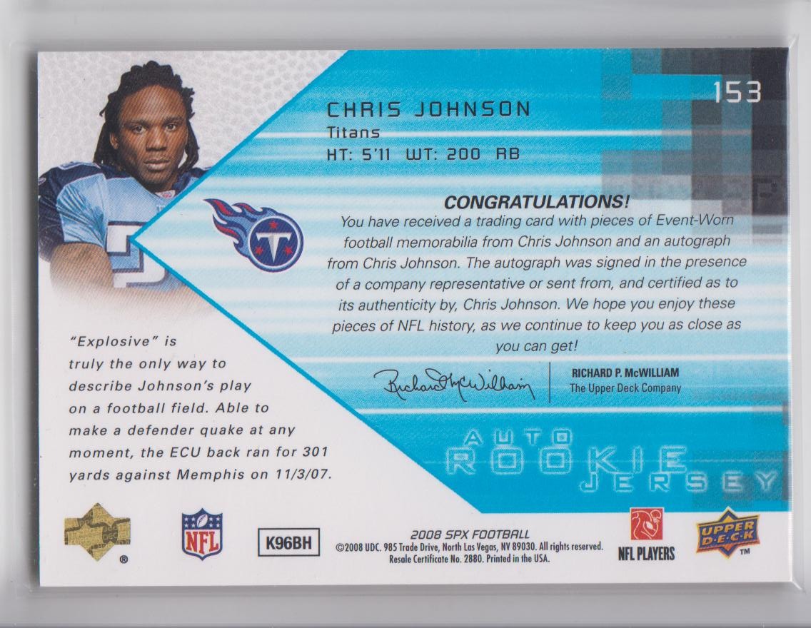 2008 SPx #153 Chris Johnson JSY AU RC back image