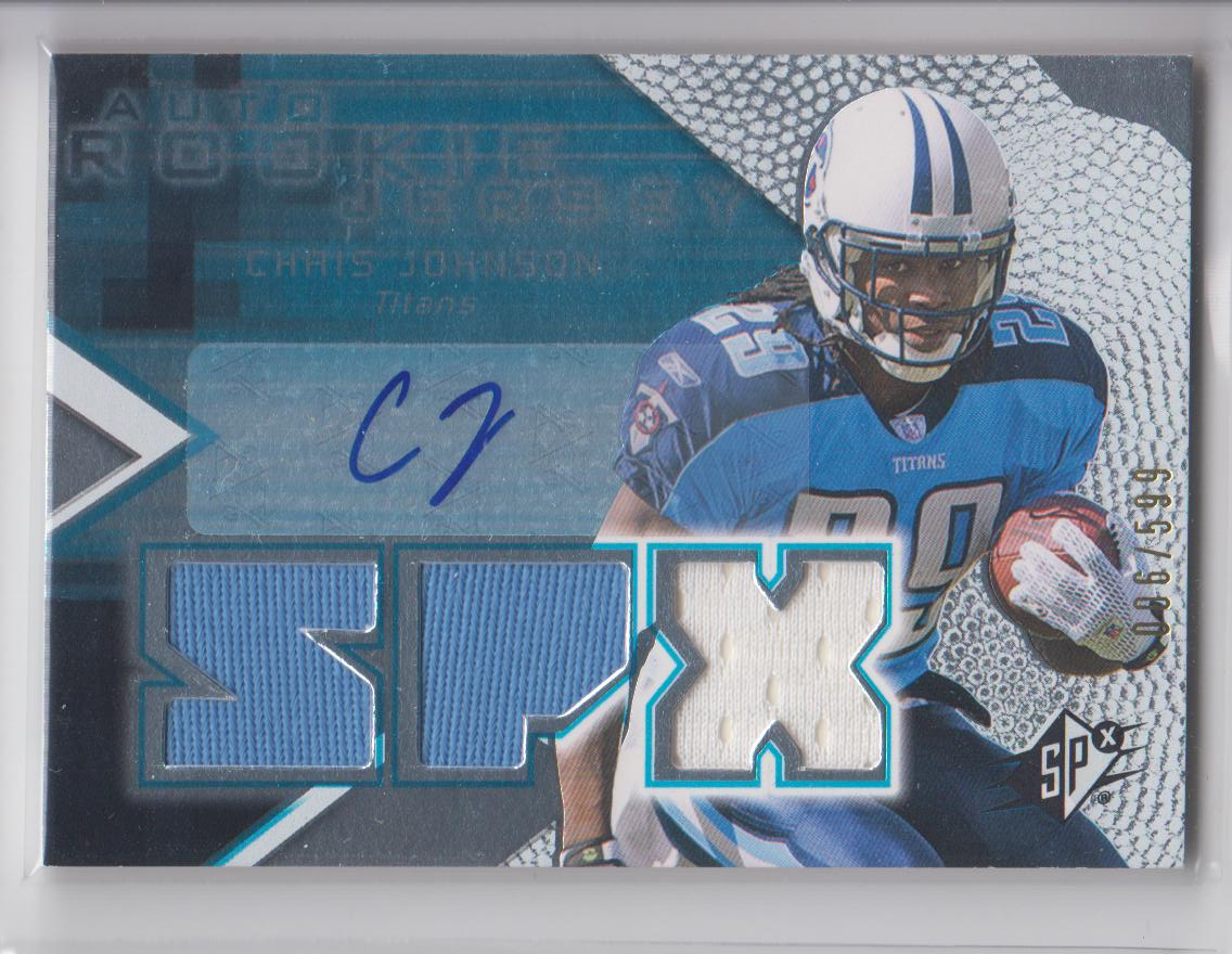 2008 SPx #153 Chris Johnson JSY AU RC