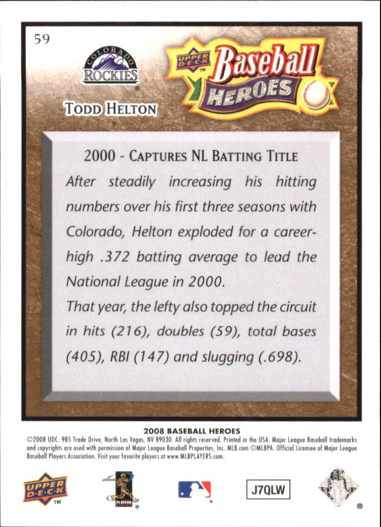 2008 Upper Deck Heroes Brown #59 Todd Helton back image