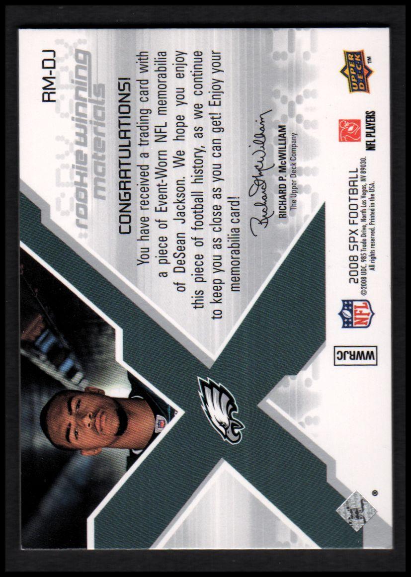 2008 SPx Rookie Materials Jersey Number Dual 175 #RMDJ DeSean Jackson back image