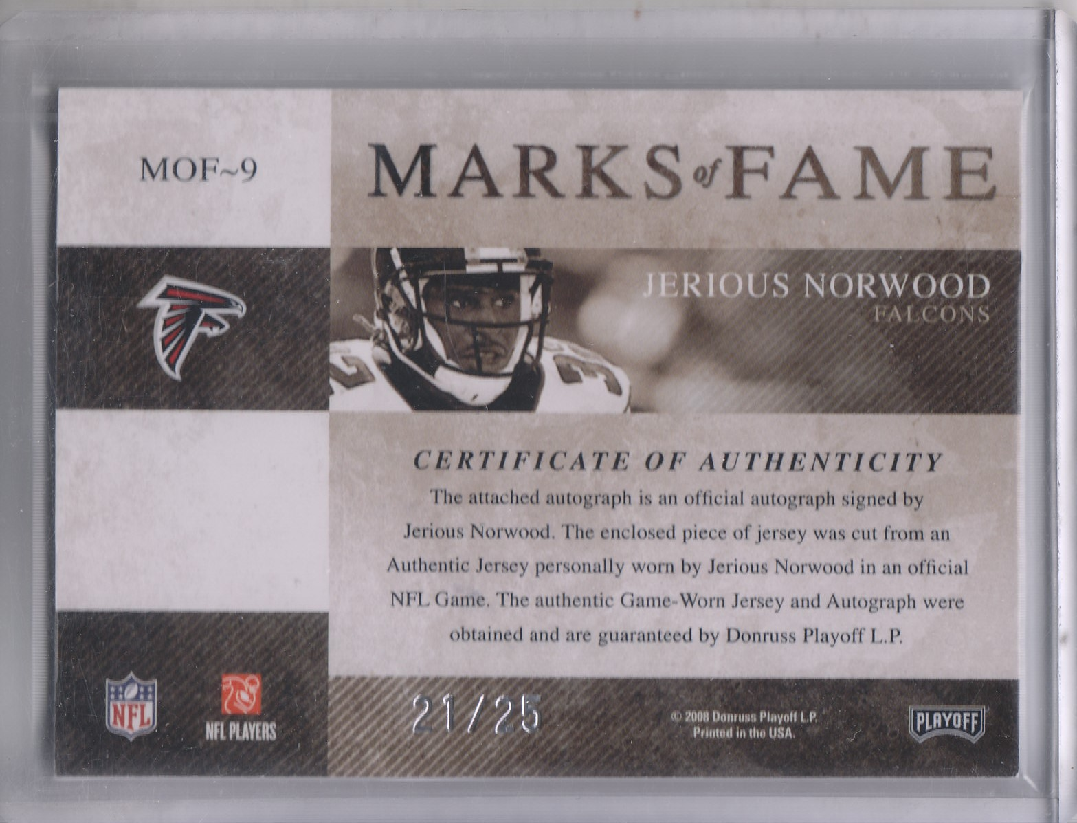 2008 Absolute Memorabilia Marks of Fame Materials Autographs #9 Jerious Norwood/25 back image