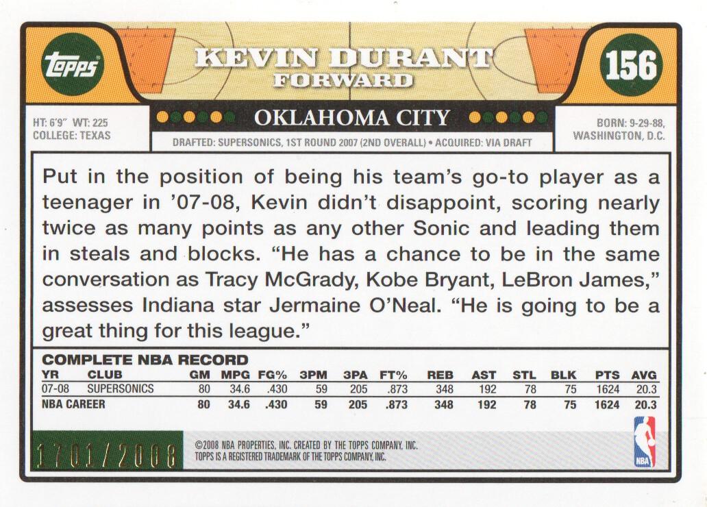 2008-09 Topps Gold Border #156 Kevin Durant back image