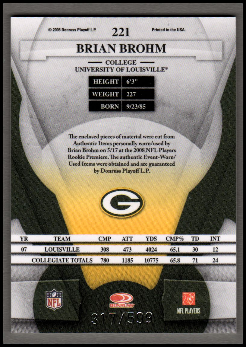 2008 Leaf Certified Materials #221 Brian Brohm JSY RC back image