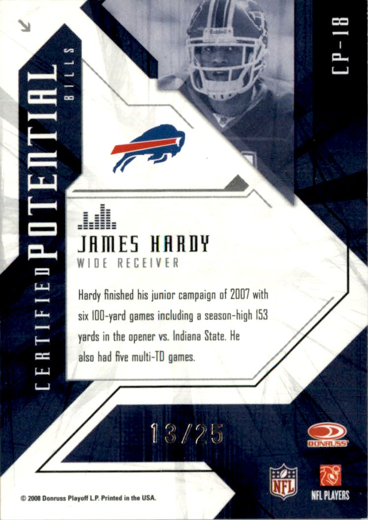 2008 Leaf Certified Materials Certified Potential Gold #18 James Hardy back image