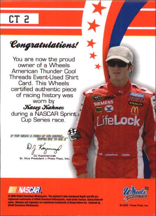 2008 Wheels American Thunder Cool Threads #CT2 Kasey Kahne/325 back image