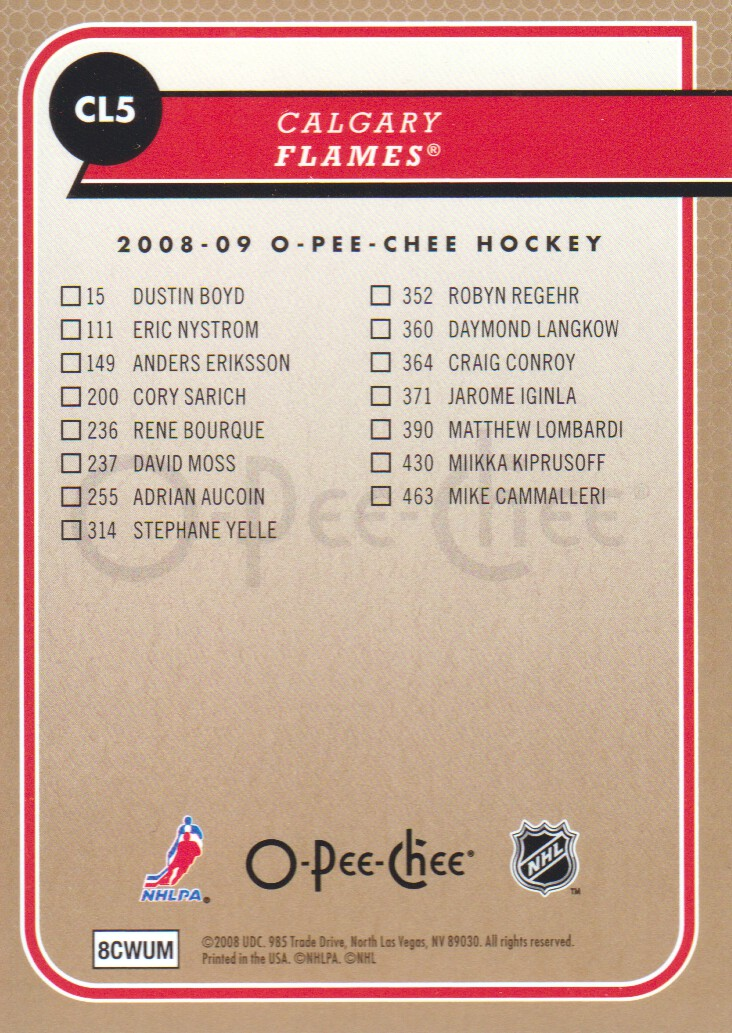 2008-09-O-Pee-Chee-OPC-Team-Checklist-Hockey-Cards-Pick-From-List thumbnail 3