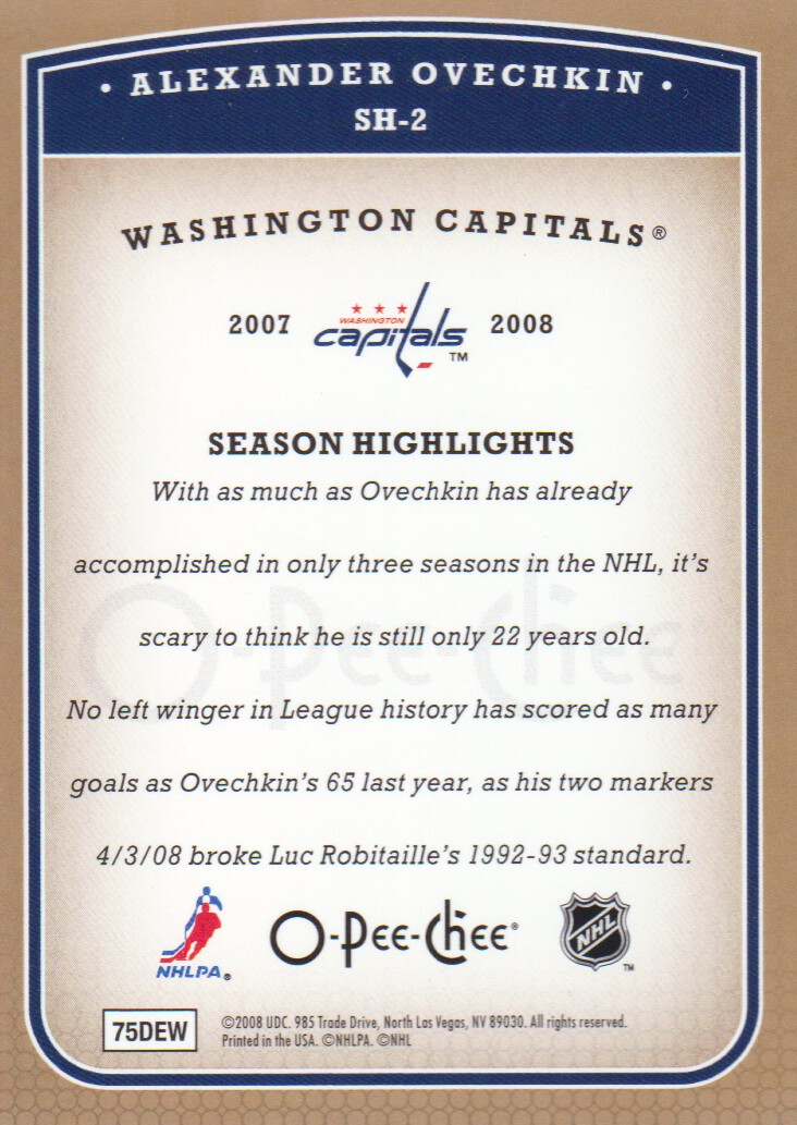 2008-09 O-Pee-Chee Season Highlights #SH2 Alexander Ovechkin back image