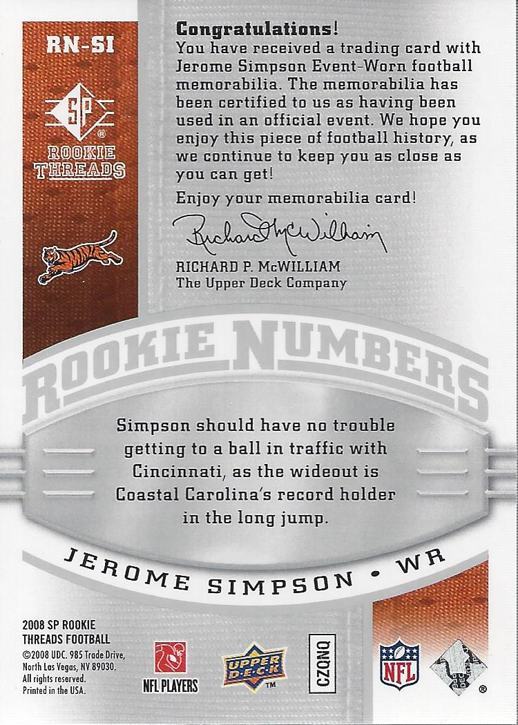 2008 SP Rookie Threads Rookie Numbers Silver 135 #RNSI Jerome Simpson back image