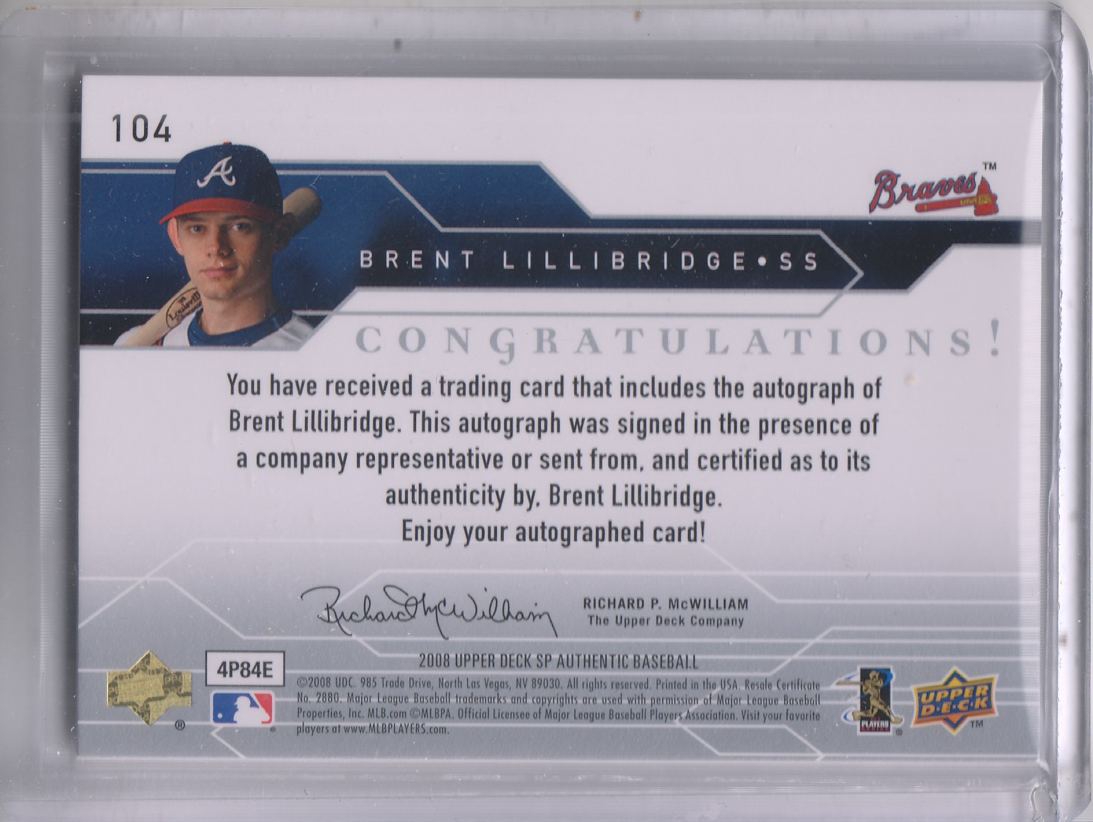 2008 SP Authentic #104 Brent Lillibridge AU/599 (RC) back image