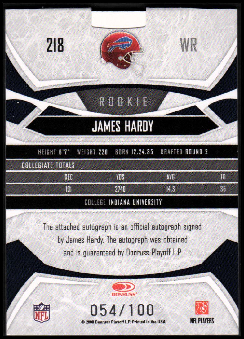 2008 Donruss Gridiron Gear #218 James Hardy JSY AU RC back image