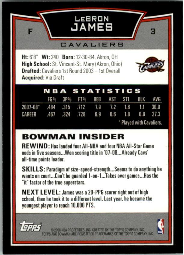 2008-09 Bowman #3 LeBron James back image