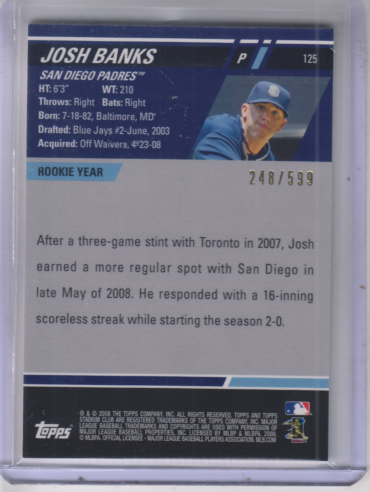 2008 Stadium Club First Day Issue #125 Josh Banks back image