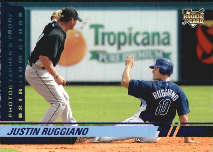 2008 Stadium Club Photographer's Proof Blue #144b Justin Ruggiano VAR/Relaxing before taking another cut