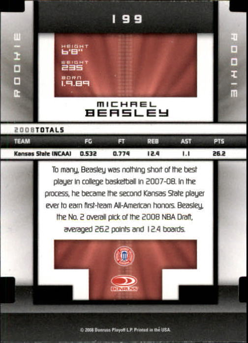 2008 Donruss Elite Extra Edition Aspirations #199 Michael Beasley back image