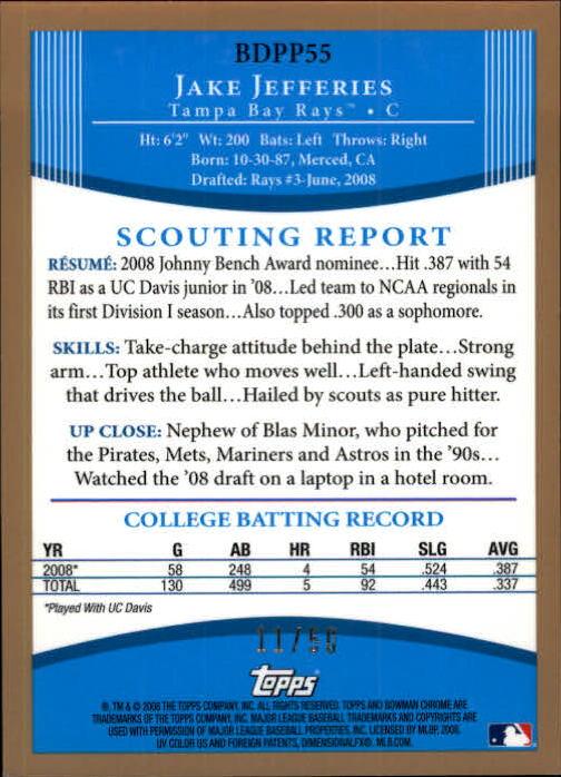 2008 Bowman Chrome Draft Prospects Gold Refractors #BDPP55 Jake Jefferies DP back image
