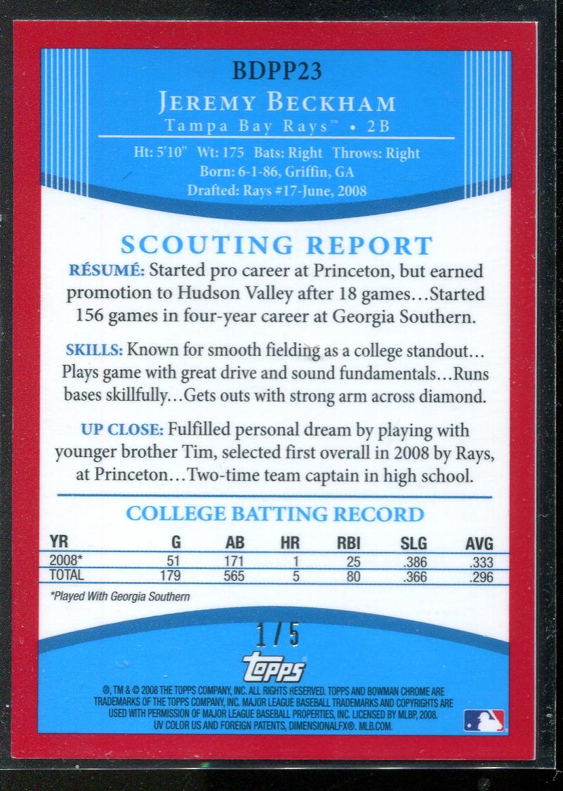 2008 Bowman Chrome Draft Prospects Red Refractors #BDPP23 Jeremy Beckham DP back image