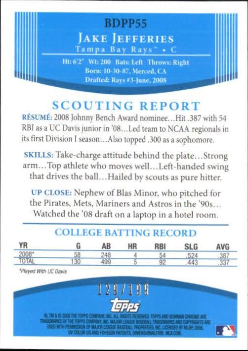 2008 Bowman Chrome Draft Prospects X-Fractors #BDPP55 Jake Jefferies DP back image
