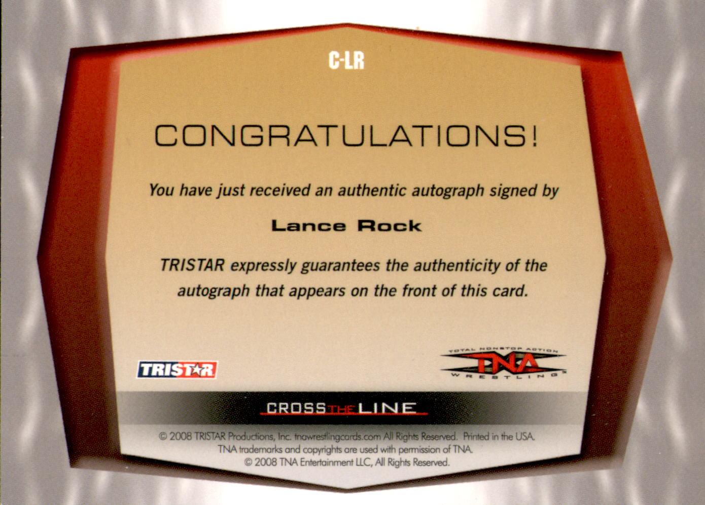 2008 TRISTAR TNA Cross the Line Autographs Silver #CLR Lance Rock back image