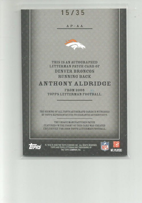 2008 Topps Letterman Patches Autograph #APAA Anthony Alridge/245* back image